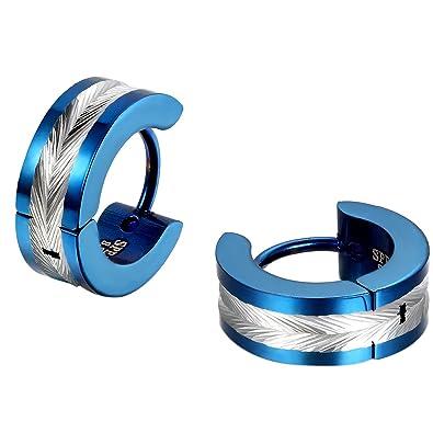 Jewelrywe Bijoux Boucles Doreilles Homme Forme Plume Anneaux à Charnière Bling Bling Acier Inoxydable Fantaisie Couleur Noir Argent Or Bleu