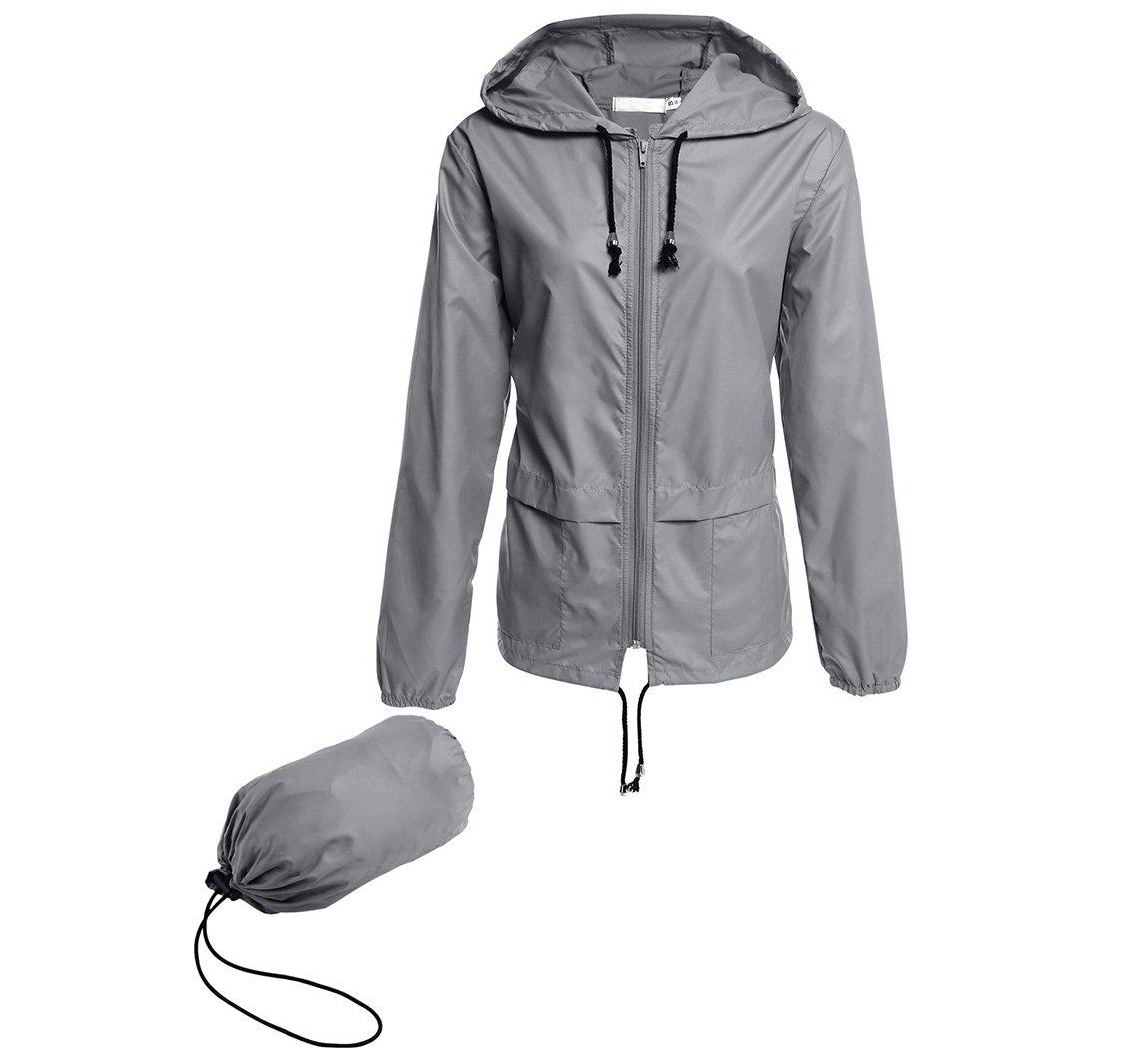 Hount Women's Hiking Lightweight Hooded Waterproof Packable Rain Jacket (L, Gray)