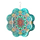 Fonmy Stainless Steel Wind Spinner-3D, Laser Cut Hand Painted with Color Sparkling Powders,Indoor