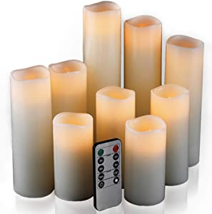 "Flameless Candles, Led Candles Set of 9(H 4"" 5"" 6"" 7"" 8"" 9"" xD 2.2"") Ivory Real Wax Battery Candles With Remote Timer by (Batteries not included)"