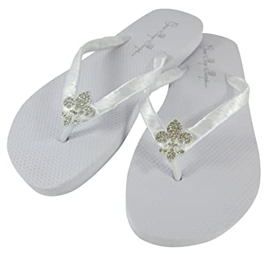 74490c7c6 Bridal Flip Flops Wedding Ivory Wedge White Platform Bride Fleur de Lis  Heel Satin Rhinestone Flip Flops  Amazon.co.uk  Shoes   Bags