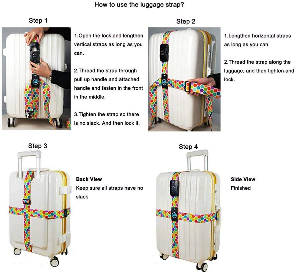 Youth Union Luggage Straps TSA Lock Cross Strap Adjustable Travel Suitcase Belt