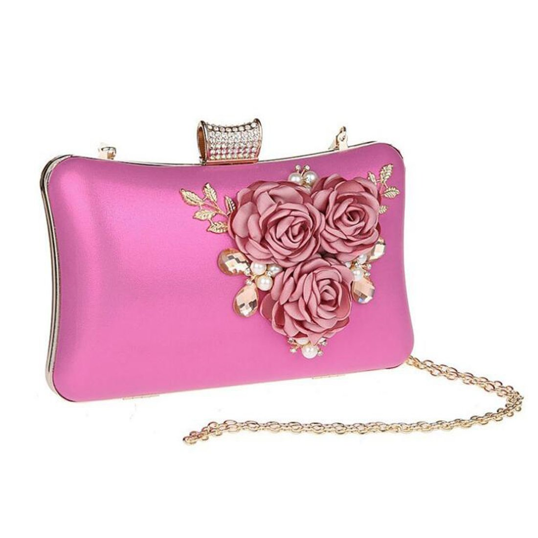 EPLAZA Women Large Capacity Flora Evening Clutch Bags Wedding Party Purse Handbags Wallet (rose red) by EPLAZA (Image #2)