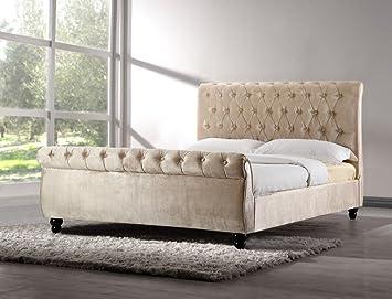 CHESTERFIELD UPHOLSTERED VELVET FABRIC DESIGNER BED FRAME IN SILVER OR CHAMPAGNE
