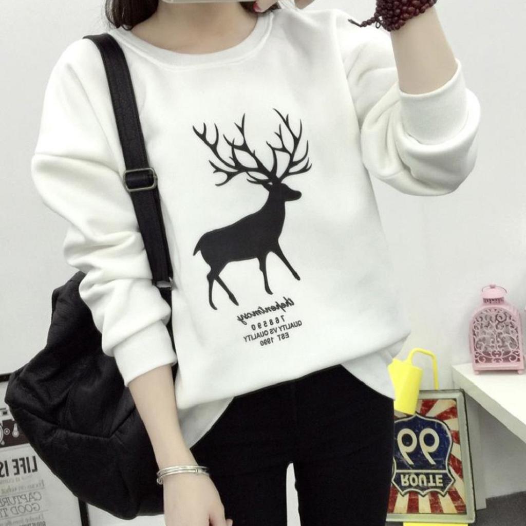 SHOBDW Mujer Moda de Invierno Camiseta de Manga Larga Top Lindo Reno Estampado Casual Sudadera Cuello Redondo Jersey Suelto Tallas Grandes Tops Blusa ...