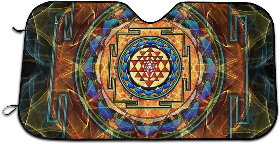 Sunny R Sombrilla de Geometr/ía Sagrada para Protector de Parabrisas Delantero de Tama/ño Est/ándar Interior del Autom/óvil Protector T/érmico Mantener Fresco 51/×27.5 Pulgadas