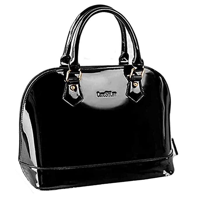 Amazon.com  Heidi Bag Women Shell Shape Patent Faux Leather Tote Handbag  Solid Fashion Wedding Clutch Puse with Makeup Brush Set Black  Shoes 75292f732e838