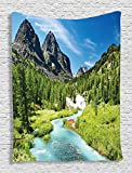 Ambesonne Alta Pine Forest Design Collection, Rainforest River and Rocky Mountains Scenery Siberia Whitewater Picture, Bedroom Living Girls Boys Room Dorm Accessories Wall Hanging Tapestry, Blue Green