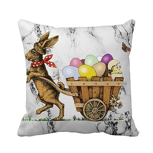 VJGOAL Pascua Lindo Conejo impresión Sofá Cama Decoración del Hogar Festival Mármol Funda de Almohada Cuadrada Súper Suave Funda de ...