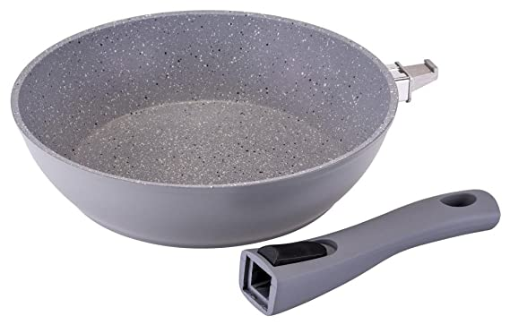 Sartén de Granito en gris, con aspecto culinario, recubrimiento de GRANITEC y mango extraíble, en diferentes tamaños, Durchmesser 26 cm: Amazon.es: Hogar