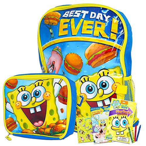 보글 스폰지 밥 가방 및 점심 식사에 대한 소년 소녀들 3PC 번들과 함께 호 16 가방과 격리된 점심 가방 스티커(스폰지 밥학교 공급)