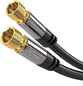 TALLA 5 m. KabelDirekt 5m Cable de Satélite Coaxial, (Conector F a Conector F, Clase A, señales analógicas e digitales, TV y receptores), PRO Series