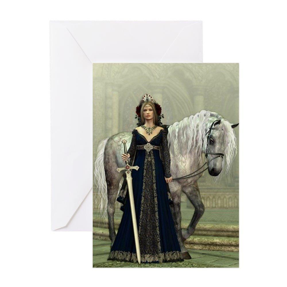 CafePress - Lady Medieval y caballo - Tarjeta de ...