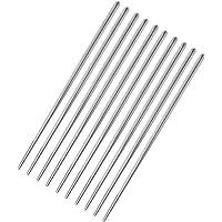 Flameer 5 pares de palitos reutilizáveis de metal coreano chinês de aço inoxidável, Square Type, 1