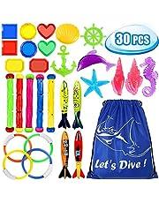 Toypedo Duikspeelgoed, onderwater, zwemmen, duiken, zwembad, speelgoed, ringen, 3 stuks algen, duiksticks 4 stuks en 6 stuks onder waterschatten cadeauset