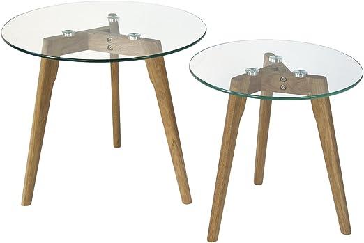 Homestyle4u 1822 Beistelltisch Glas Holz 2 Er Set Rund Tisch Gross O 50 Klein O 40 Cm Amazon De Kuche Haushalt