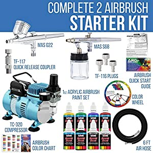 Master Airbrush Cool Runner II Dual Fan Air Compressor Airbrushing Acrylic Paint System Kit with 2 Professional Airbrushes, Hose – 6 Primary Acrylic Paint Colors Artist Set – How To Guide, Color Chart