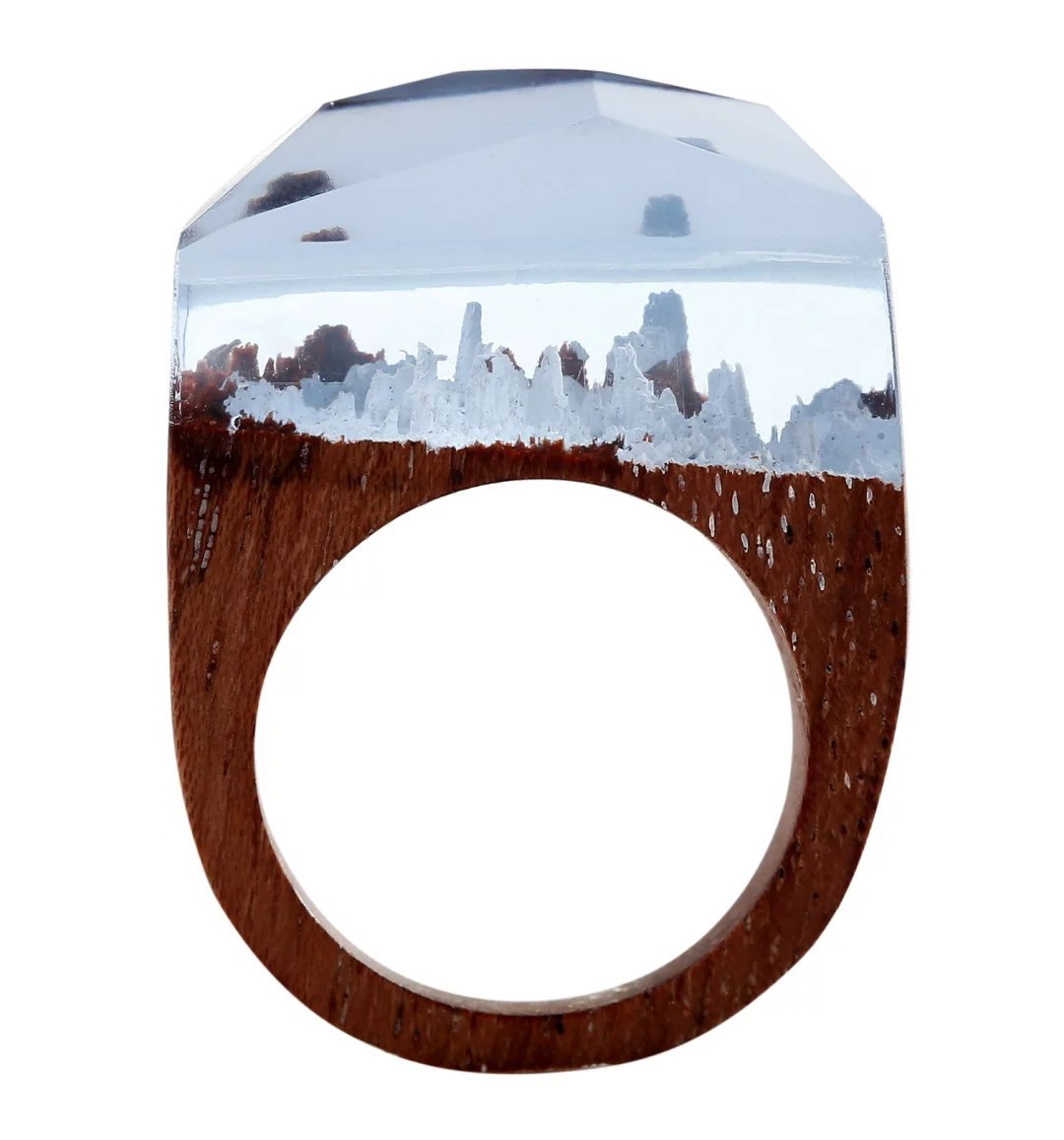 Heyou Love Handmade Wood Resin Ring With Blue Sky Landscape Inside Jewelry