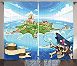 Island Map Decor Curtains Aerial View of Fantasy Pirate Cove Island with Crossbones and Captain Skull Figure Decor Living Room Bedroom Decor 2 Panel Set Multi