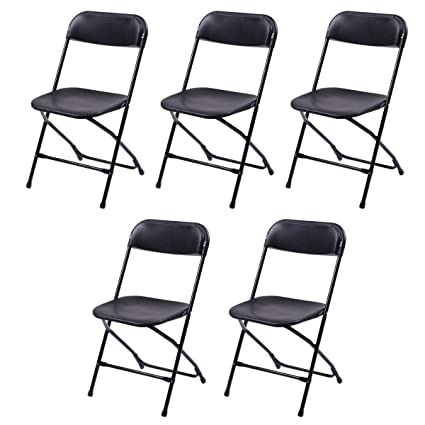 Giantex Set Of 5 Plastic Folding Chairs Wedding Party Event Chair  Commercial (Black)