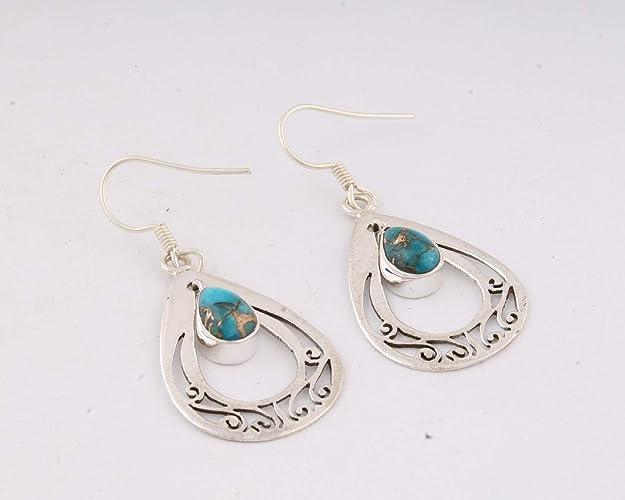 bajo precio 032b7 6a460 Aretes de plata de ley 925 con turquesa azul para regalo del ...