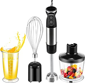 Kahasa Immersion Hand Blender 5-in-1 6 Speed 6 gears +turbo Multifunctional 500ML Meat Grinder/hand blender/Stainless Steel/Egg Whisk/600ML Measuring Cup/Milk Frother Baby food Processor BPA-free