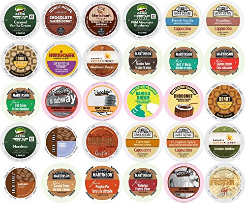 Irish Coffee Mint Mocha Flavored (30-count K-cup ALL FLAVORED Coffee Variety Pack - Green Mountain, Grove Square, Authentic Donut Shop, Barnie's, Hurricane, Martinson, Brooklyn Bean, Java Factory, Guy Fieri, & Gloria Jeans)