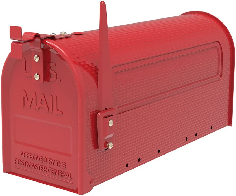 Mailbox Post Mount Large Residential Grey Steel Rust-Free Hinges w//Red Flag Mail