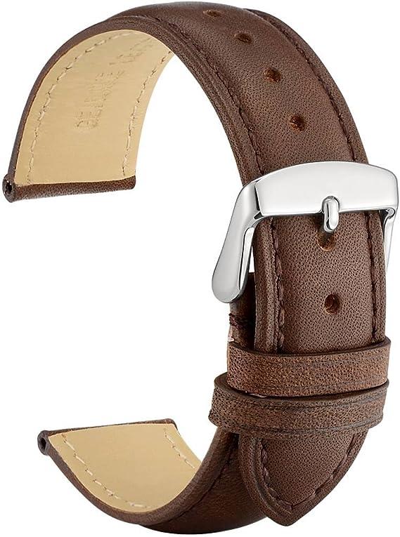 Uhrenarmband 14 mm breit Uhrenband,Armbänder Dunkelbraun Kalbsleder 2 Stege