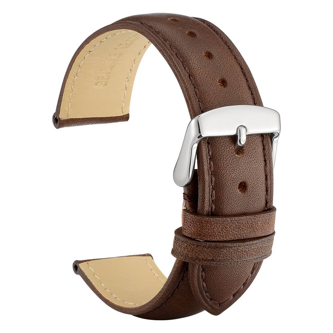 WOCCI 20mm Watch Band - Dark Brown Vintage Leather Watch Strap with Silver Buckle (Tone on Tone Stitching) by WOCCI