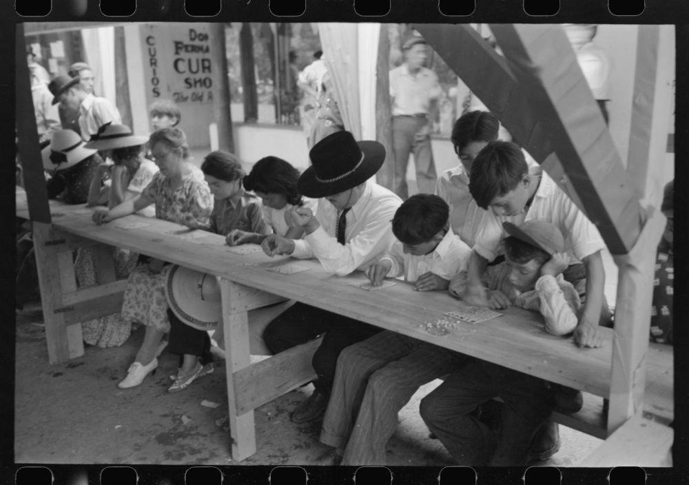 1940 Photo Bingo at fiesta, Taos, New Mexico Location: New Mexico, Taos by Historic Photos