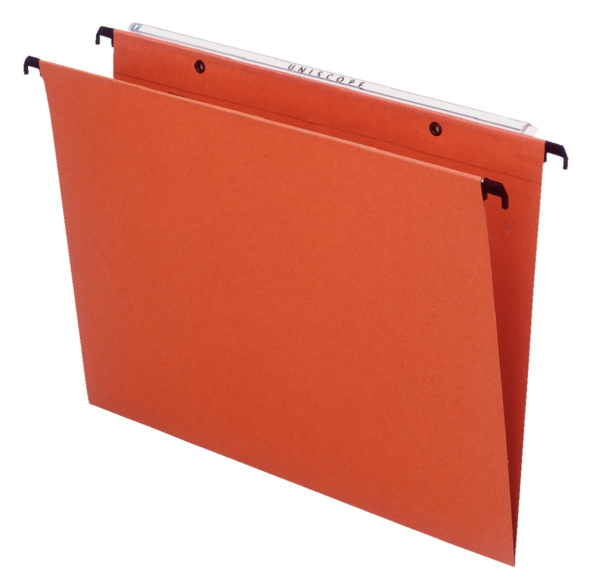 Esselte 10403 Orgarex Kori - Cartella sospesa verticale con fondo a U 3 cm, Interasse 39 cm, Capacità estesa alla base, Cartoncino riciclato rinforzato, Barra metallica, Portaetichette incluso, Arancione, Confezione da 50 Arancione Leitz