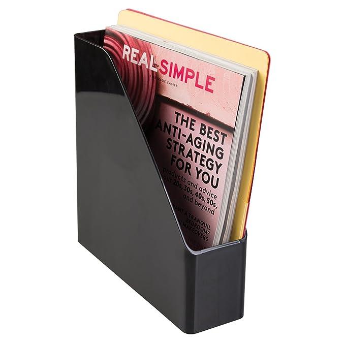 ... Linus Revistero Vertical para publicaciones, actas, Cuadernos y más, archivador de Papeles con asa para Escritorio en plástico, Negro: Amazon.es: Hogar