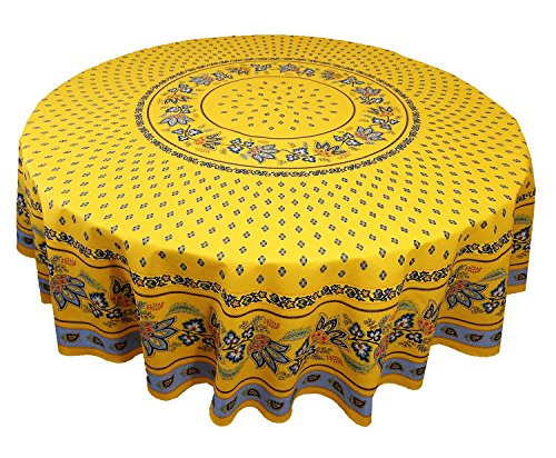 (Le Cluny, Lisa Yellow with French Blue,French Provence 100 Percent COATED Cotton Tablecloth, 70