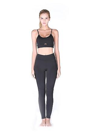 05859d6f Women's Fitness Running Sports Yoga Suits Sport 2 Piece Outfits Yoga Vest  Pant Suits (Black)
