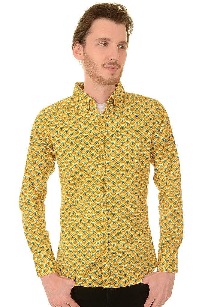 Vintage Shirts – Mens – Retro Shirts Run & Fly Mens 70s Retro Mod Psychedelic Peacock Printed Shirt $19.95 AT vintagedancer.com