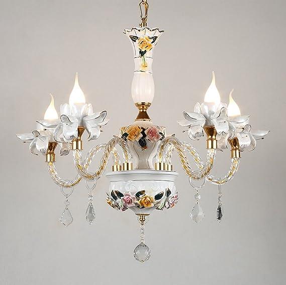 Amazon.com: GH@ Lámpara de cerámica europea con candelabro ...