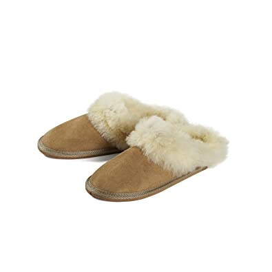 668d41a874fb13 Handmade Genuine Sheepskin Slippers Wool Women Men Brown Soft (5.5)