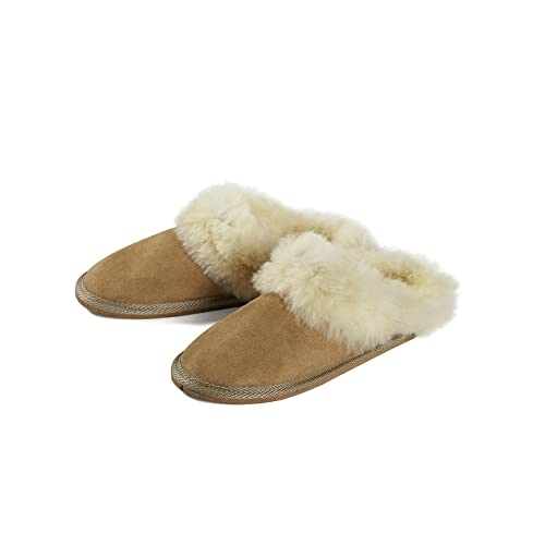 3174735c40e69 Handmade Genuine Sheepskin Slippers Wool Women Men Brown Soft