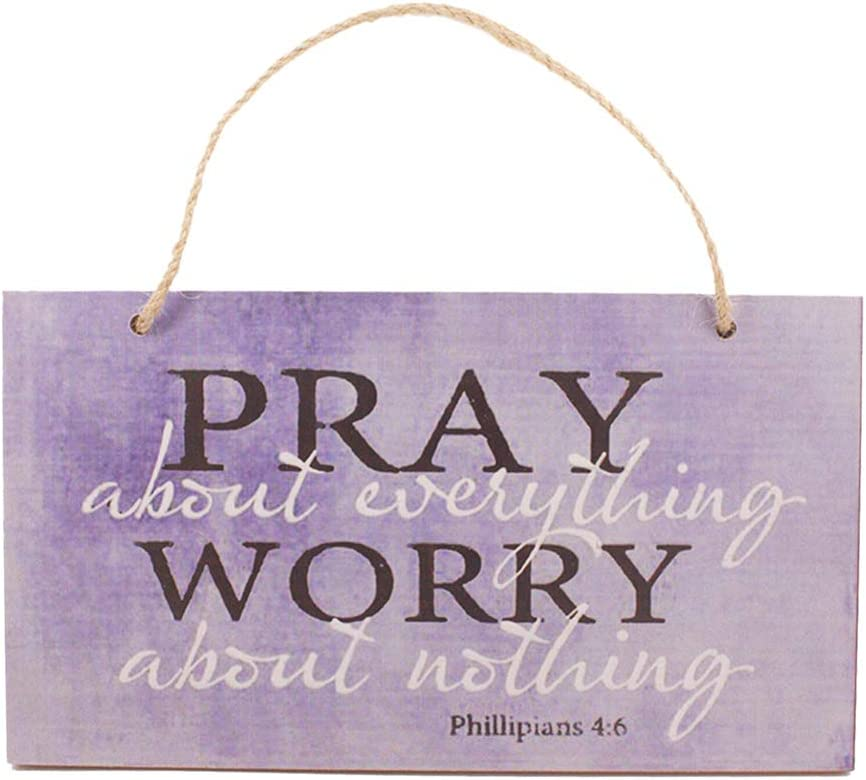 VOSAREA Wood Hanging Sign, Pray About Everything Worry About Nothing Sign,Wall Hanging Tag Wooden Hanging Board Letter Hanging Plaque Wall Art Decor Supplies with Rope