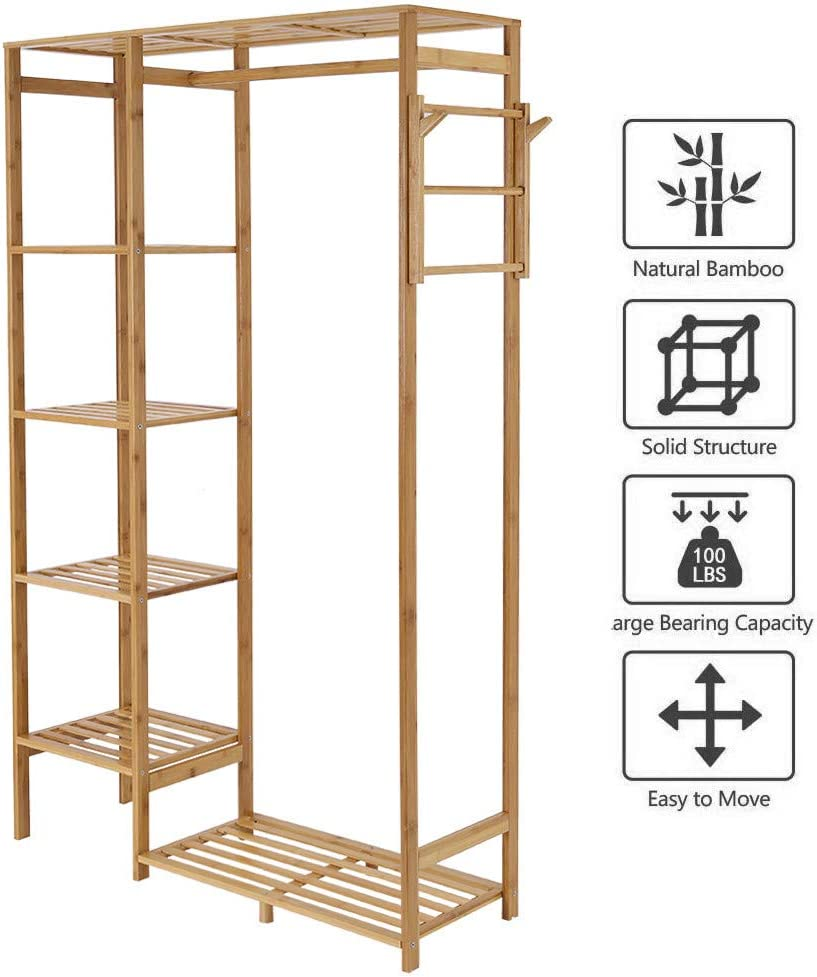 Hstore Bamboo Garment Rack 6 Tier Storage Shelves Multi-Function Clothes Hanging Rack with Side Hooks Flower Stand US Stock