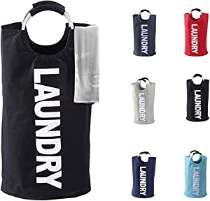 Laundry Basket - 1 Pack 82L Large Fabric Laundry Hamper Bag (6 Variations) - Collapsible, Portable, Foldable Clothes Bag Organization, Waterproof, Durable Handles For Bathroom, Kids Room (Black)