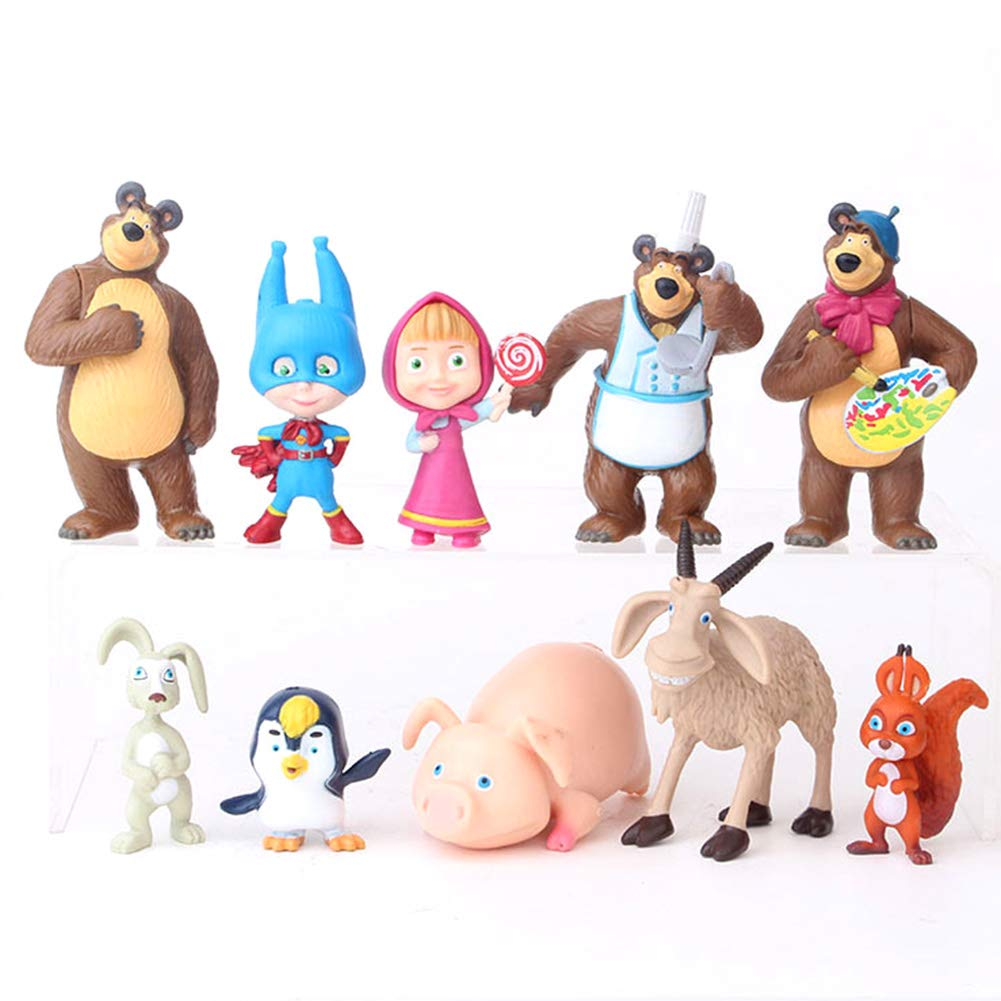 Masha and The Bear Playset 10 Pcs Figures Doll Toys Cake Toppers Party Supplies Birthday Decorations + Bonus Assorted Stickers by TOYFORU MASHA