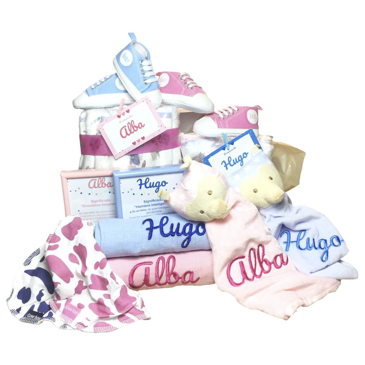 MabyBox My Sneakers   Canastilla de Bebe   Regalo original Recien Nacido   Cesta de Bebe Personalizada   Regalos bebé (rosa, 0-3 meses)