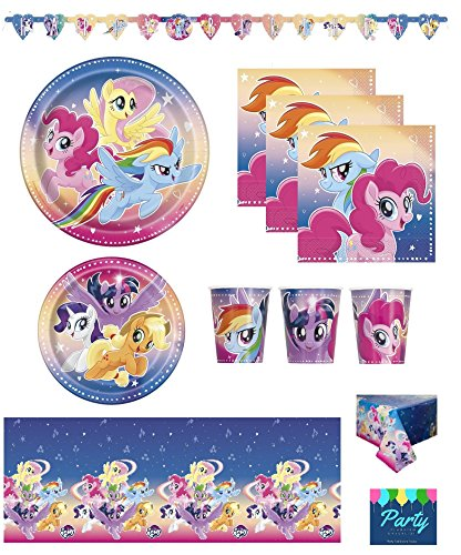 My Little Pony Birthday Party Supplies Pack for 16 Guests Including: Banner, Table Cover, Large and Small Plates, Napkins and Cups 6.75' Paper