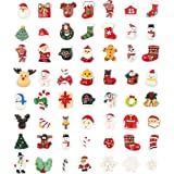 100pcs Christmas Slices Resin Slime Charms Assorted Button Santa Snowman Tree Bell Deer for Craft Making, Ornament Scrapbooki