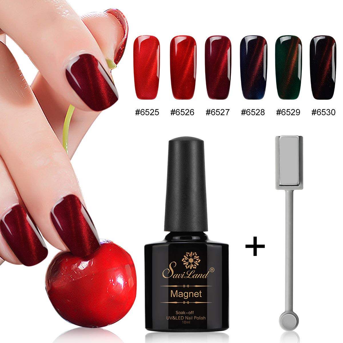 6pcs Red Series Cat Eye Nail Gel Set, Saviland Soak Off UV/LED Magnetic Nail Polish Nail Art Manicure Kit 10ml+ +Free Magnet Stick