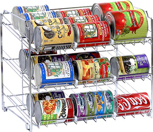 SimpleHouseware Stackable Can Rack Organizer, Chrome (Can Rack Storage compare prices)