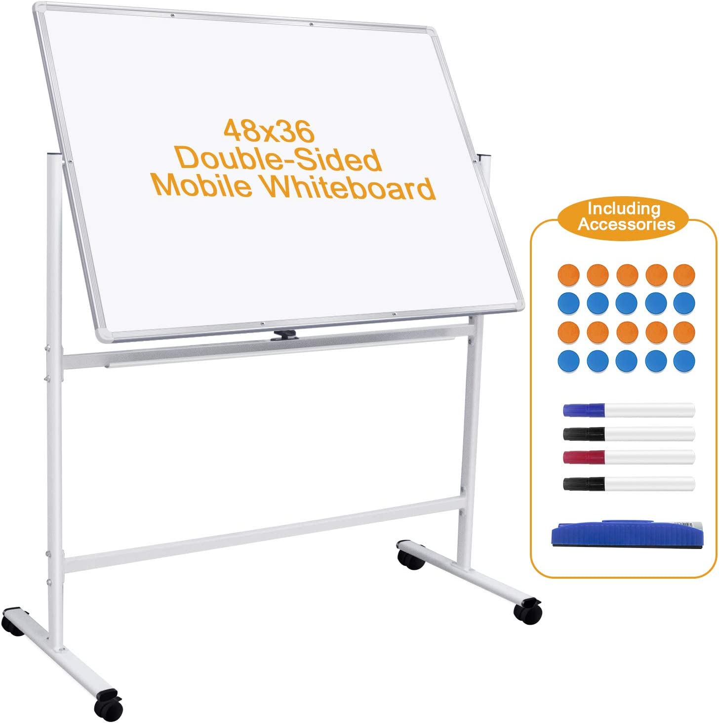 Mobile Whiteboard 48''x 36'' Double-Sided Rolling Whiteboard with Stand Large Magnetic White Board on Wheels Portable Standing Whiteboard on Stand for School Home Office