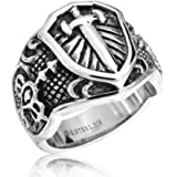 Bling Jewelry Stainless Steel Celtic Medieval Cross and Shield Mens Ring